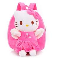 卡通儿童书包幼儿园小孩子1-3岁女宝宝小猪佩琪毛绒佩奇双肩背包 粉红色 KT猫