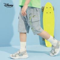 【2件2.4折价:54.9元】迪士尼童装男童冰氧吧中裤2021夏季新款洋气儿童微哈工装裤子潮