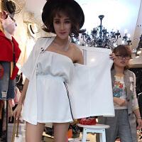 夏季新款韩版潮抹胸阔腿连体短裤套装夏天女装时尚两件套雪纺