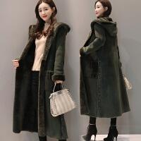 冬季新气质鹿皮绒外套风衣女中长款加厚加绒皮毛一体棉衣显瘦过膝