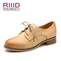 RIIID夏季真皮英伦深口女鞋单鞋 圆头平跟系带单鞋