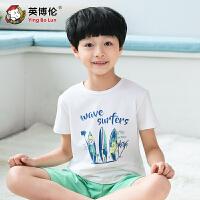 【儿童节大促-快抢券】英博伦童装男童短袖套装中大童纯棉T恤运动休闲套装儿童夏季套装