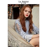 拉夏贝尔镂空慵懒毛衣打底上衣女新款内搭宽松刺绣网纱拼接针织衫