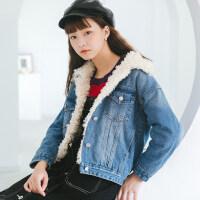 韩版冬季牛仔加绒外套女加厚加棉宽松短款仿羊羔毛棉衣上衣大毛领厚 X