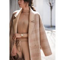 2018新款秋冬隐形格子赫本风大衣女中长款韩版毛呢外套廓形全羊毛 驼色 S