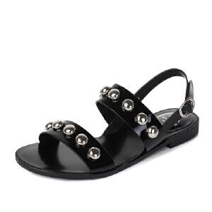 Tata/他她2017夏季光牛皮潮款金属钢珠休闲一字型女凉鞋2XL02BL7