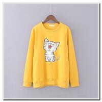 大码女装 韩版卡通卫衣胖MM200斤圆领长袖可爱猫咪卫衣套头打底衫