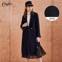 【满399减80】呢子大衣女拉夏贝尔冬季新款韩版宽松西装领风衣中长毛呢外套