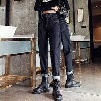 Lee Cooper 收腰宽松小直筒萝卜老爹裤个性显瘦牛仔裤女 LCKLY806