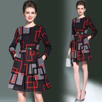 女士秋季连衣裙新款韩版修身显瘦中长款时尚气质淑女A字裙子