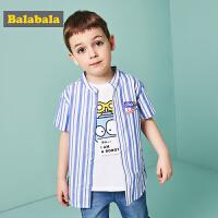 巴拉巴拉童装男童宝宝衬衫短袖夏装新款条纹纯棉儿童休闲衬衣