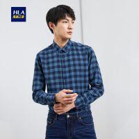 HLA/海澜之家格纹反面拉绒长袖衬衫2019冬季新品休闲保暖长衬男