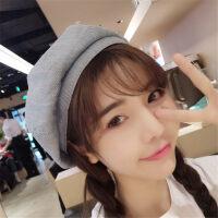 春夏天新品贝雷帽女格纹画蓓蕾帽青年时尚甜美可爱学生八角帽潮 M(56-58cm)
