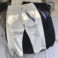 夏季韩版男士牛仔短裤日系潮流七分裤马裤大号热裤中裤子大码薄款