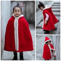 一岁宝宝冬装女童披风斗篷女冬长款加厚复古外套加厚保暖公主古装