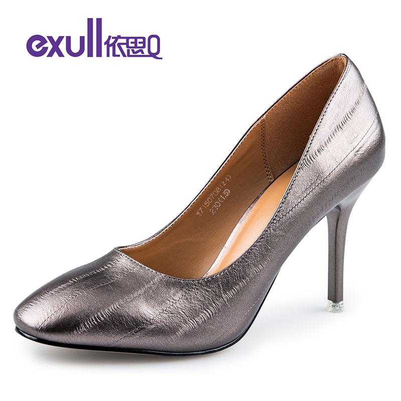 依思q春秋新款方头个性刮纹套脚细跟高跟单鞋女鞋子