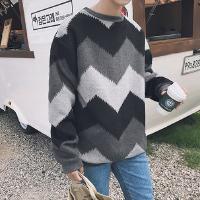 新款2018秋装新品青年毛衣男韩版潮流男几何印花毛绒圆领针织衫