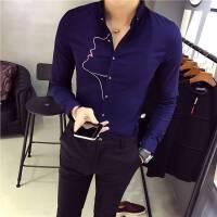 青年男韩版修身衫衣英伦小码XS码贴身长袖衬衫矮个子刺绣寸衣忖衫