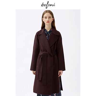 2件4折 伊芙丽2018冬装新款韩版时尚女装毛呢外套1187970431