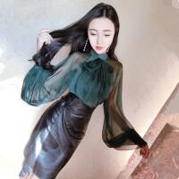 秋装新款气质名媛蝴蝶结灯笼袖雪纺衫+不规则高腰半身裙套装
