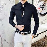 新款秋季夜店潮流个性衬衫男青年长袖修身韩版发型师时尚休闲衬衣