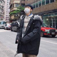 棉袄男冬装2018新款加厚大毛领棉服韩版学生潮流中长款棉衣男外套