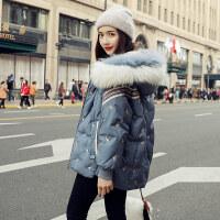 2018冬季潮流新款连帽大毛领蓝色短款羽绒服女韩版宽松时尚刺绣小个子