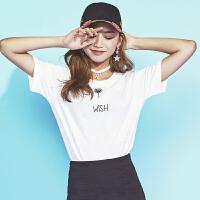 韩都衣舍2017韩版女装夏装新款字母刺绣宽松打底衫短袖T恤