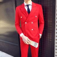 新品18四季男士潮流韩版修身大红色结婚西服套装青年小伙双排扣三