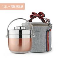 日式大容量手提不锈钢保温提锅饭盒双层便当盒分格学生2层保温桶
