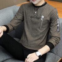 男士长袖t恤秋季男装秋衣男外穿韩版帅气打底衫圆领纯棉上衣印花