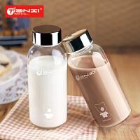 天喜单层玻璃杯带盖加厚耐热车载杯子可爱透明水杯便携水瓶茶杯