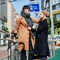 新款2018秋冬装毛呢大衣韩版宽松男女休闲中长款情侣呢子风衣外套