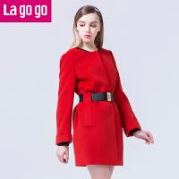 【每满200减100】Lagogo/拉谷谷冬季新款纯色拼接圆领毛呢大衣