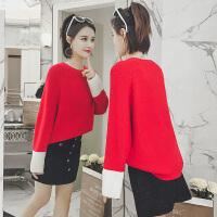 2018春装新款女装小个子毛衣配裙子两件套小香风软妹港味套装裙冬 红色毛衣黑色短裙套装