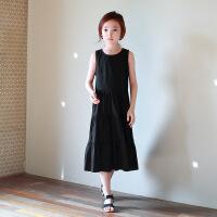 2019 夏装韩版童装女童沙滩裙儿童无袖背心长裙 黑色