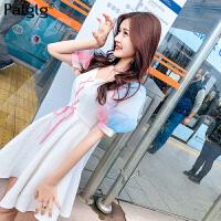 夏装2018新款韩版修身显瘦女装裙子短袖甜美小清新超仙白色连衣裙