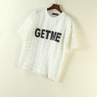 韩版女装夏原宿风欧根纱格子英文字母印花圆领短袖T恤女