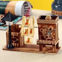 音乐盒 创意旋转风车小熊音乐盒带笔插带灯送女友女生520礼物 款式随机发