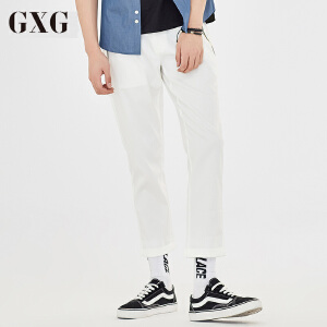 GXG休闲裤男装 夏季 韩版男士时尚休闲都市白色绅士修身九分裤