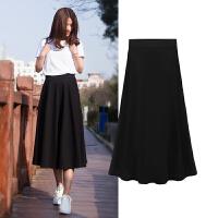 秋冬季半身裙女中长款韩版新款修身高腰a字裙春夏季长裙黑色裙子