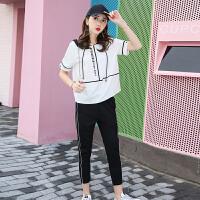 套装女夏季新款韩版宽松休闲跑步运动服短袖+九分裤两件套潮 白色