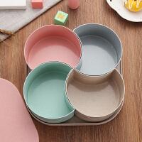 小麦果盘零食坚果盒家用客厅糖果盒分格带盖创意干果盘水果盘塑料 #方形四格# 北欧风