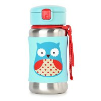 美国直邮 Skip hop 可爱动物园系列不锈钢防滑外套婴儿吸管杯 350ml 海外购