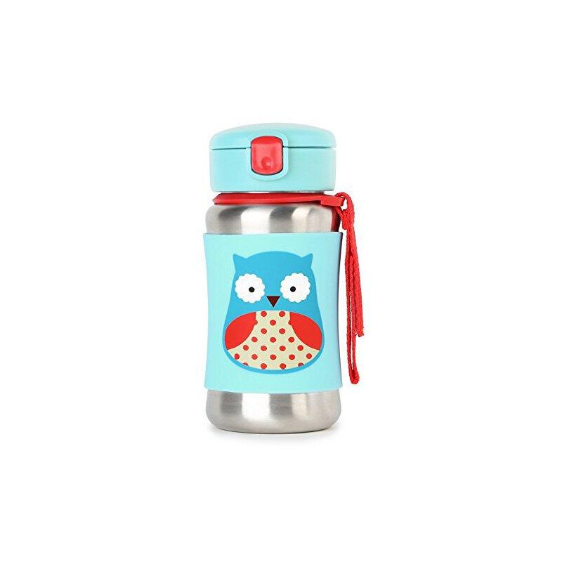 美国直邮 Skip hop 可爱动物园系列不锈钢防滑外套婴儿吸管杯 350ml 海外购 大容量设计 魔术贴手腕带
