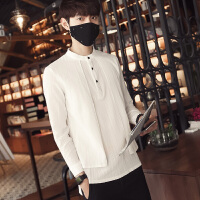 春夏新款男士长袖衬衫韩版假两件个性帅气青少年潮流修身衬衣