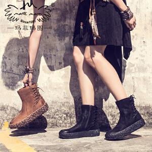 玛菲玛图棉靴女冬2018新款加绒圆头中跟平底短靴松糕底侧拉链后系带马丁靴2229-1