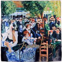 蒙马特大街世界名画真丝围巾方巾雷诺阿油画丝巾红磨坊的舞会