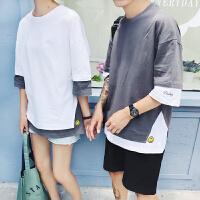 情侣装夏装2018新款韩版原宿bf风短袖女假两件T恤半袖宽松上衣潮