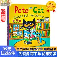 送音频 皮特猫系列英文原版纸板书 Pete the Cat Checks Out the Library